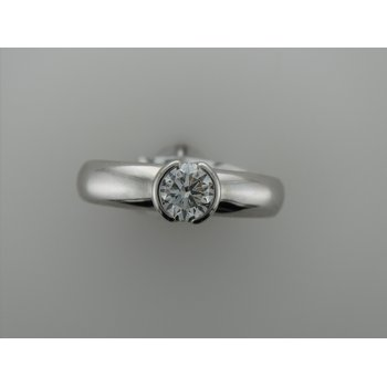 Platinum Half Bezel Diamond Engagement Ring