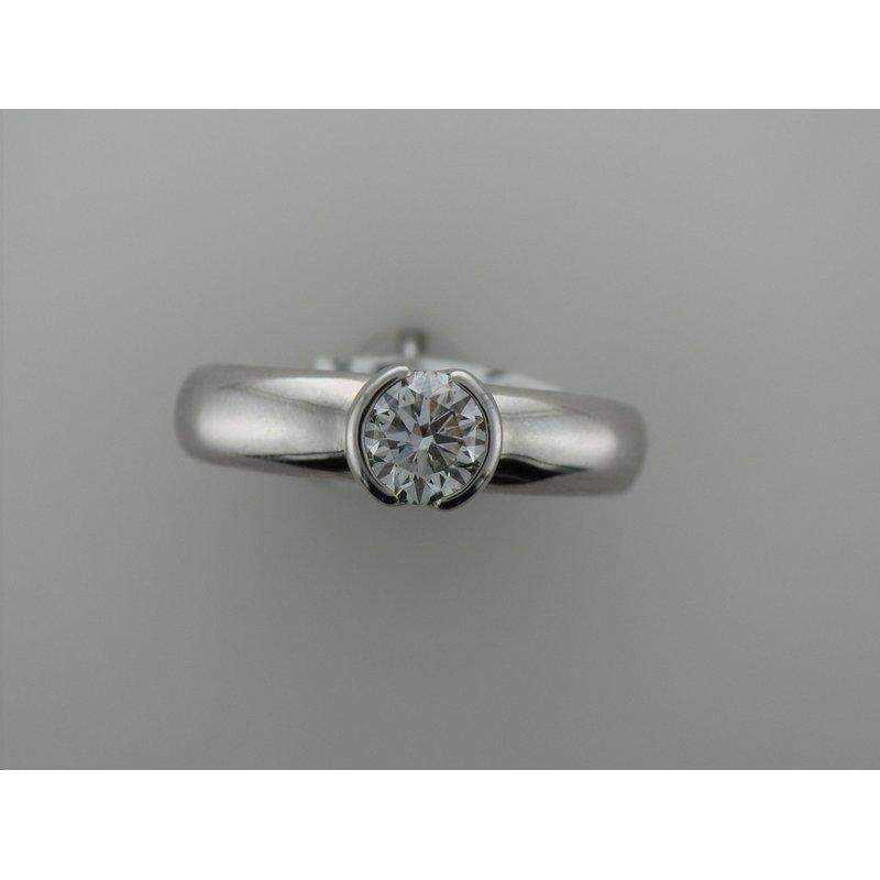 Antique, Estate & Consignment Platinum Half Bezel Diamond Engagement Ring