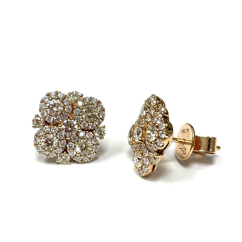 Parade Design Fancy Colored Diamond Cluster Earrings