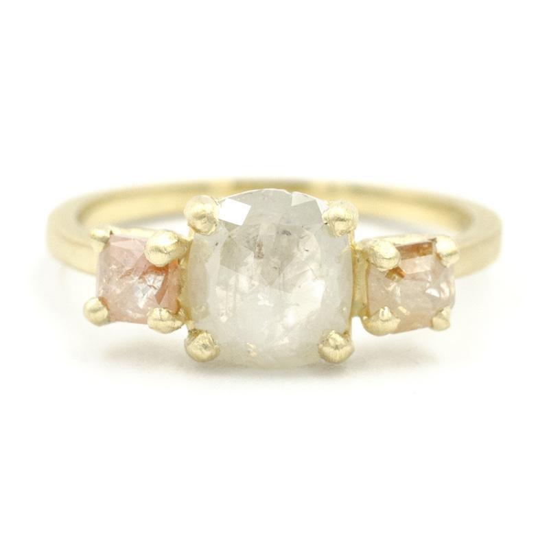 Jennifer Dawes Design Facet Three Stone Opaque Diamond Ring