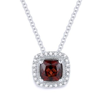 Garnet & Diamond Halo Necklace