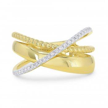 Diamond Crossover Wide Ring