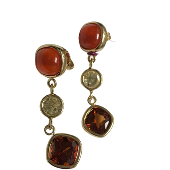 Carnelian, Citrine & Garnet Earrings