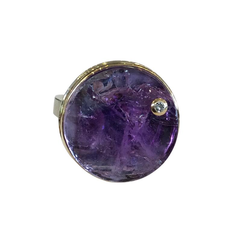 Jamie Joseph Surface Cut Amethyst & Diamond Ring