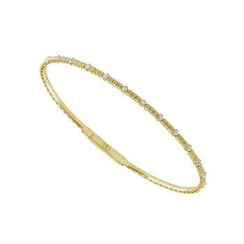 14k Yellow Flexible Diamond Station Bracelet