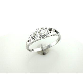 Square Step Cut Diamond Engraved Band