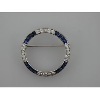 Diamond & Synthetic Sapphire Circle Brooch