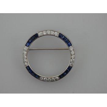 Diamond & Synthetic Sapphire Circle Brooch