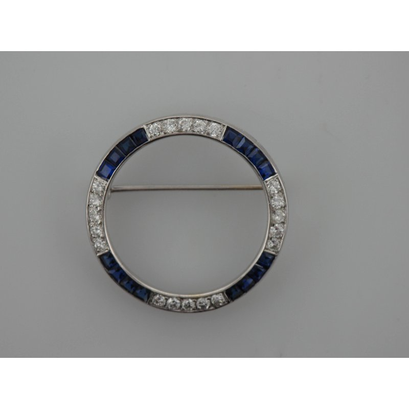 Antique, Estate & Consignment Diamond & Synthetic Sapphire Circle Brooch