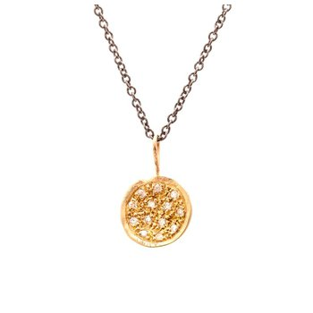 Pave Diamond Gold Disc Necklace