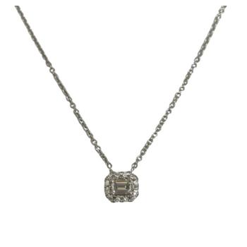 Emerald Cut Diamond Halo Necklace