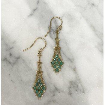 Amazonite Textile Drop Earrings