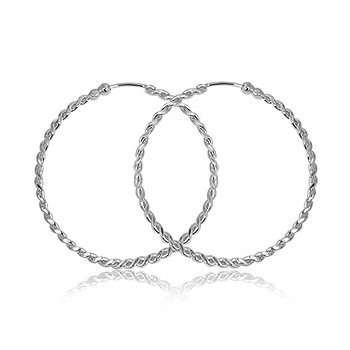 Silver Twist Hoop Earrings 35mm