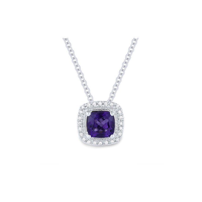 Madison L Amethyst & Diamond Halo Necklace