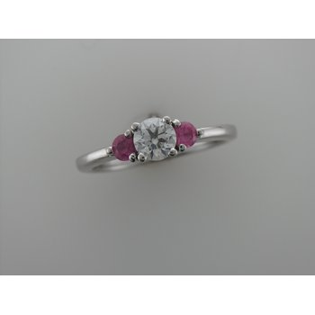 Three Stone Diamond & Pink Sapphire Ring
