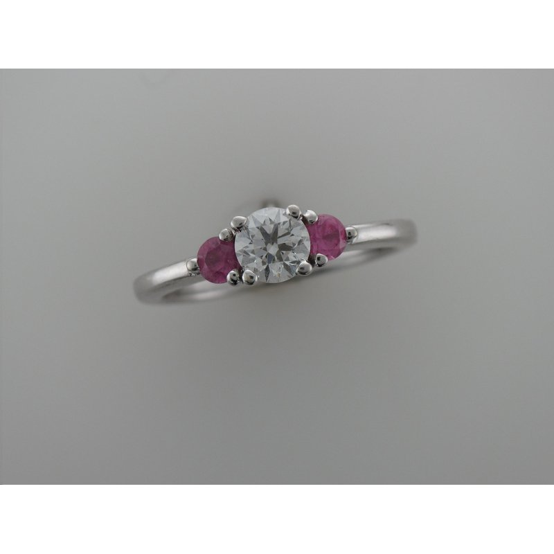Antique, Estate & Consignment Three Stone Diamond & Pink Sapphire Ring