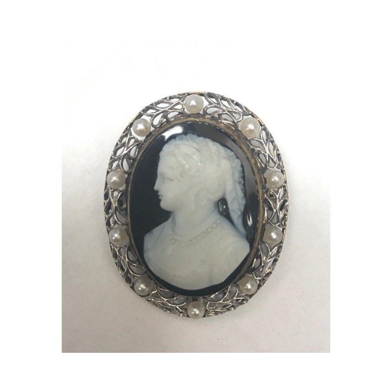 Antique, Estate & Consignment Pearl Cameo Pin