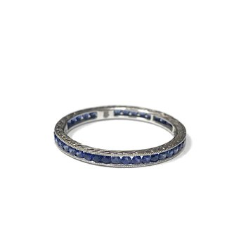 Sapphire Channel Set Engraved Band