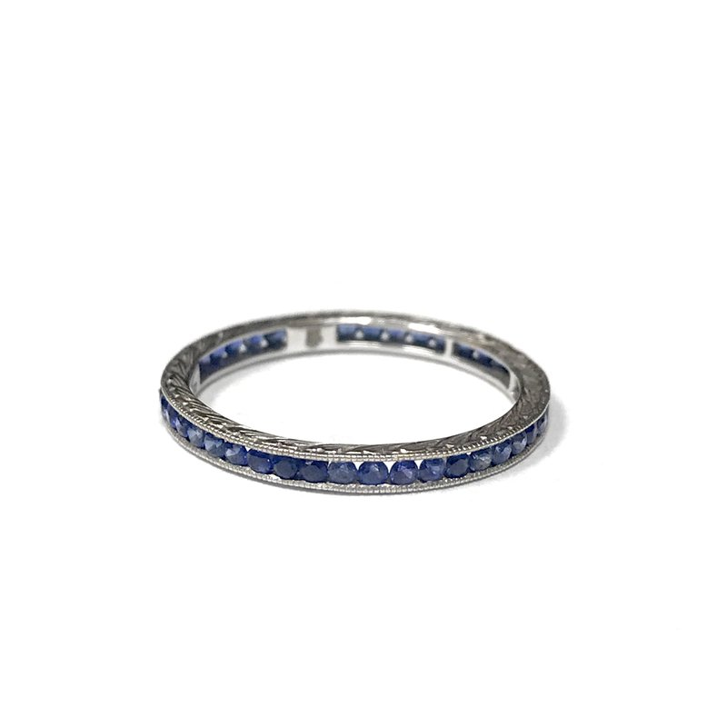Antique, Estate & Consignment Sapphire Channel Set Engraved Band