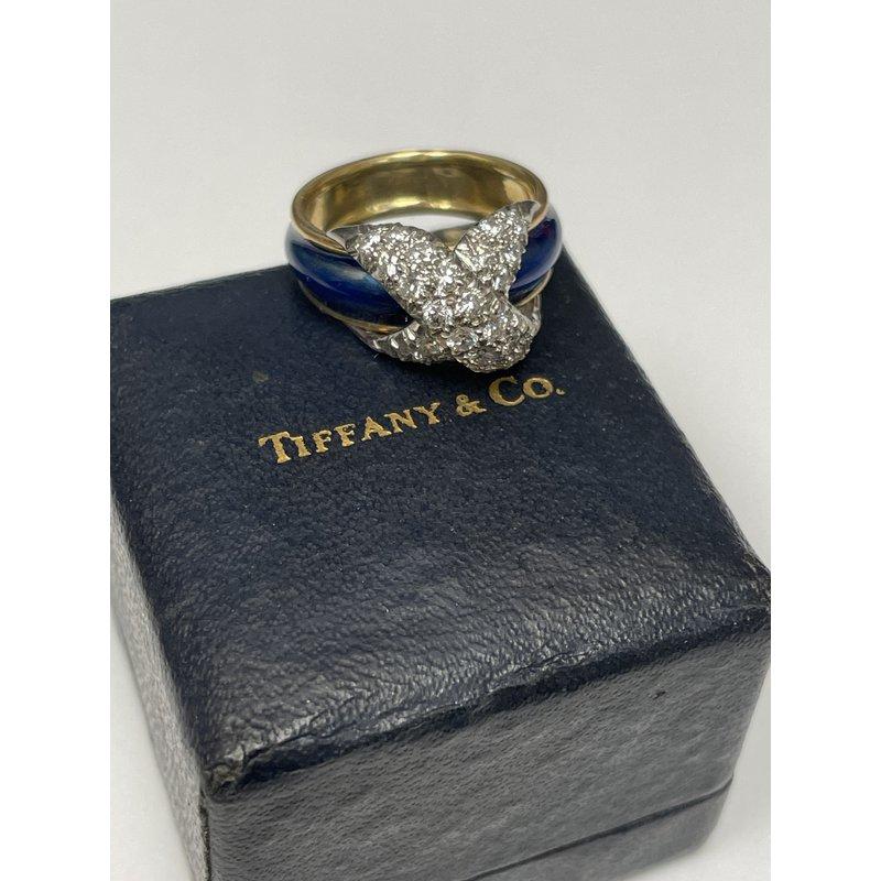 Antique, Estate & Consignment Vintage Tiffany & Co. Schlumberger Enamel Diamond Ring