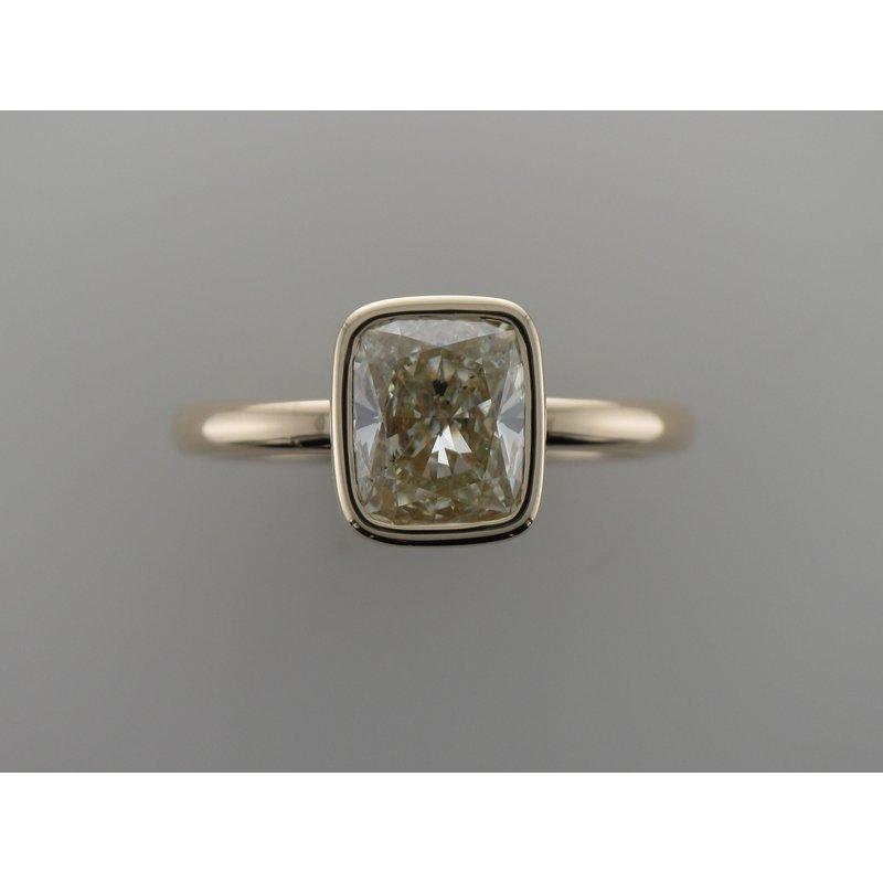 Hurdle's Custom Designs Bezel Set Cushion Diamond Engagement Ring