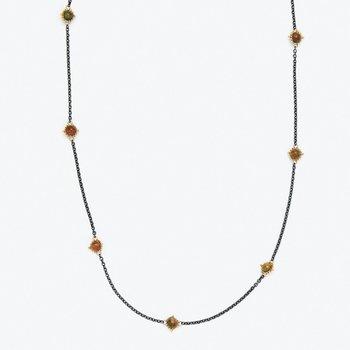 Oxidized Sterling Silver Black Opal Station Necklace