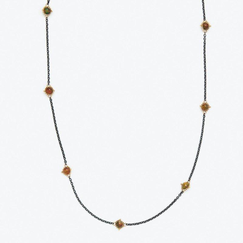 Amali Oxidized Sterling Silver Black Opal Station Necklace