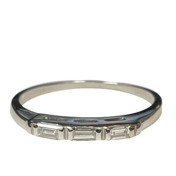 Platinum Three Stone Baguette Wedding Band