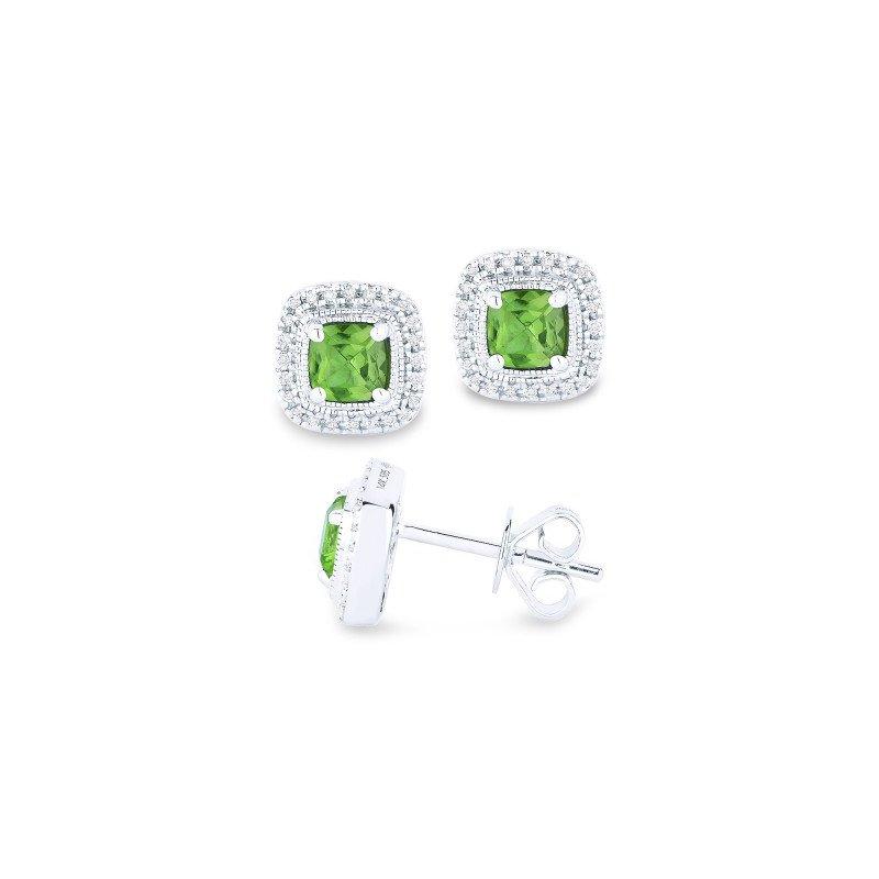 Madison L Peridot & Diamond Halo Stud Earrings