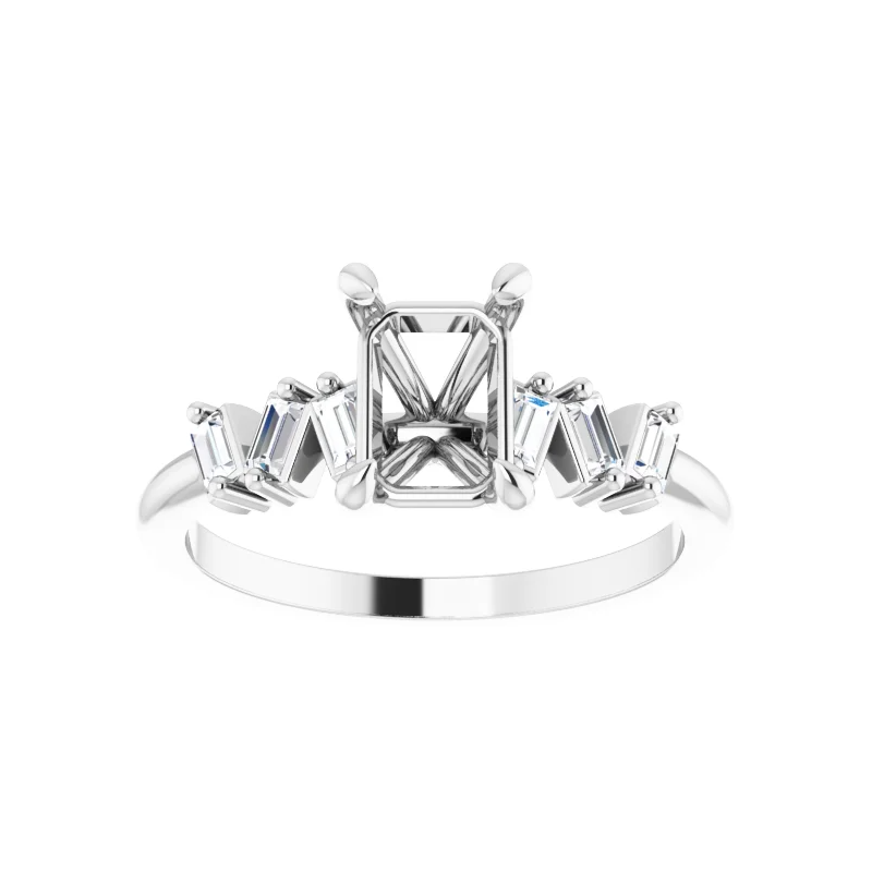 Stardust Bridal  Emerald Claw-Prong Engagement Ring