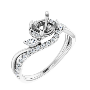 Semi-Set French-Set Engagement Ring
