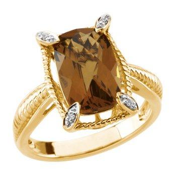 Genuine Checkerboard Honey Quartz & Diamond Ring