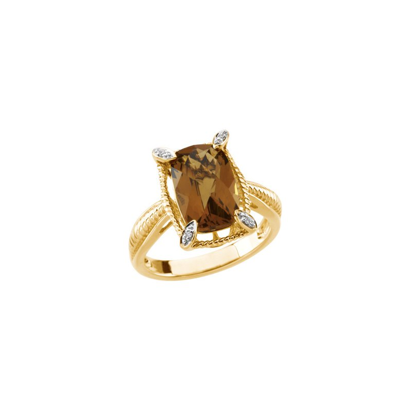 Holiday Ideas Genuine Checkerboard Honey Quartz & Diamond Ring