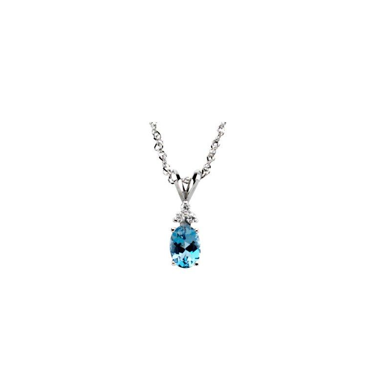 Ladies' Jewelry Genuine Aquamarine & Diamond Necklace