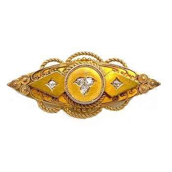 Vintage, Etruscan design, yellow gold and diamond Brooch