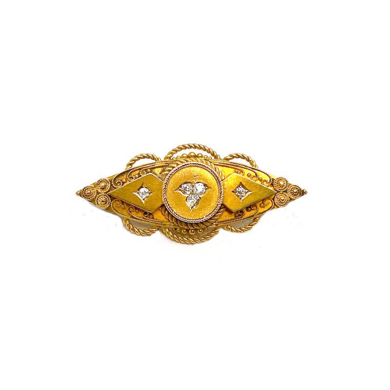 Estate & Vintage Vintage, Etruscan design, yellow gold and diamond Brooch