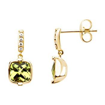 Genuine Checkerboard Peridot & Diamond Earrings