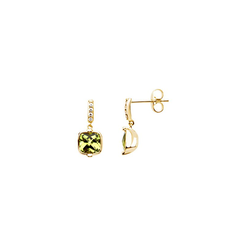 Ladies' Jewelry Genuine Checkerboard Peridot & Diamond Earrings