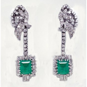 PREVIOUSLY LOVED® White Gold and Diamond Emerald Earrings