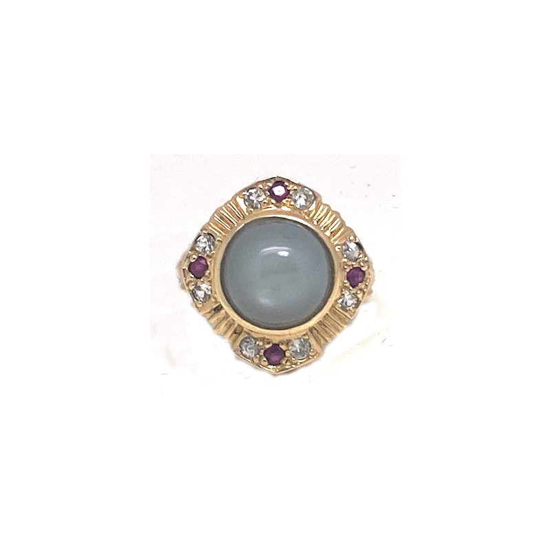 Estate & Vintage Lady's vintage grey stone, red stones, clear stones and yellow gold ring