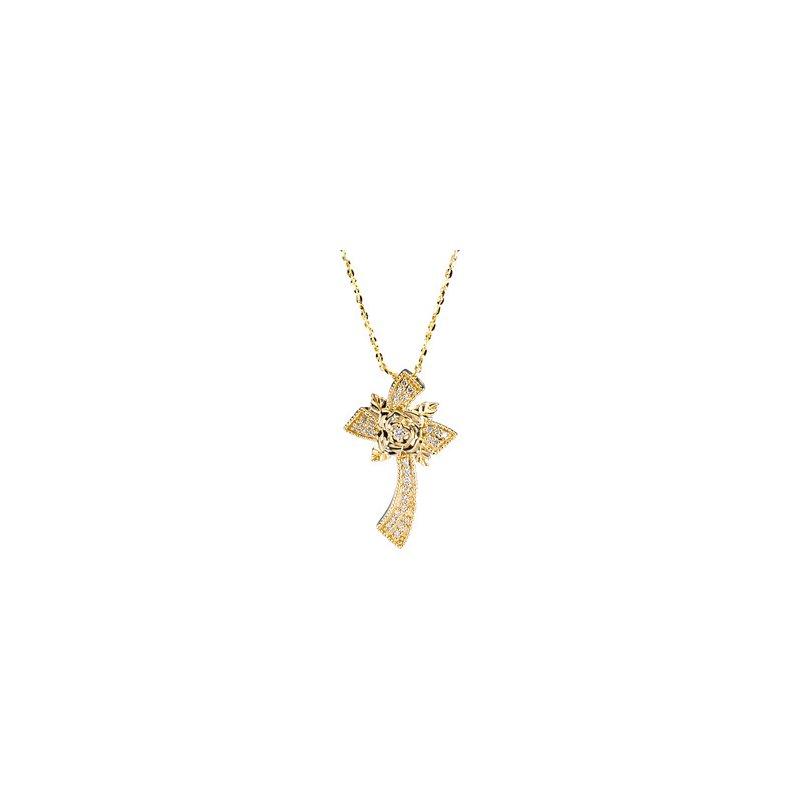 Religious Jewelry Floral Diamond Cross Necklace