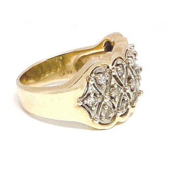 Lady's vintage two-tone and diamond wide band ring