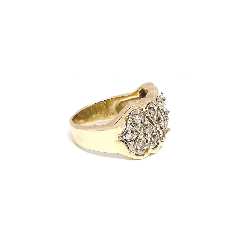 Estate & Vintage Lady's vintage two-tone and diamond wide band ring