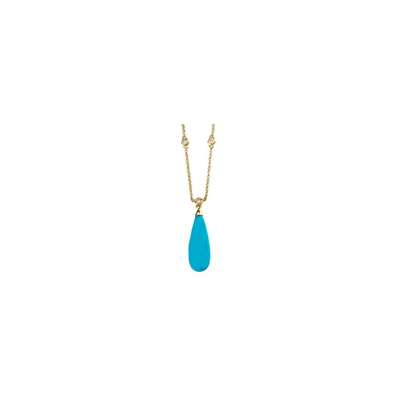 Ladies' Jewelry Genuine Turquoise Briolette & Diamond Necklace