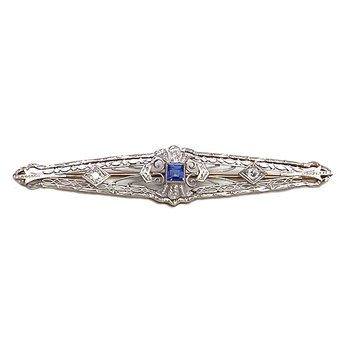 Lady's vintage Art Deco style sapphire, diamond and two-tone bar pin