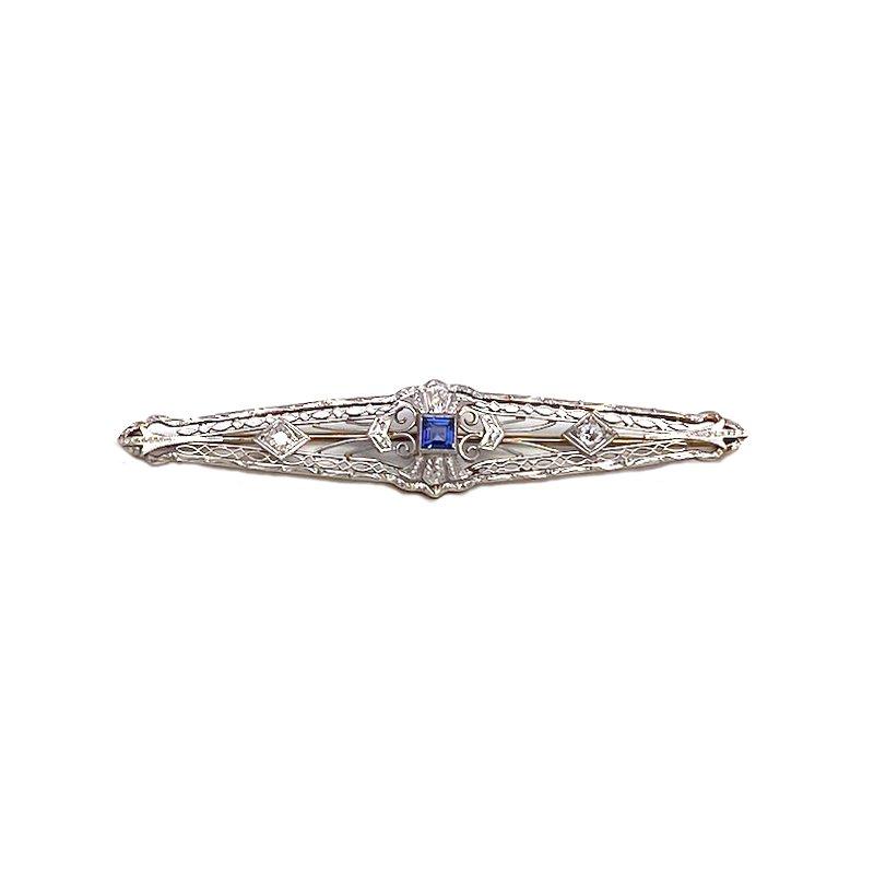 Estate & Vintage Lady's vintage Art Deco style sapphire, diamond and two-tone bar pin