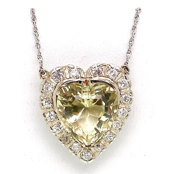 Vintage heliodor and diamond, two-tone gold heart necklace