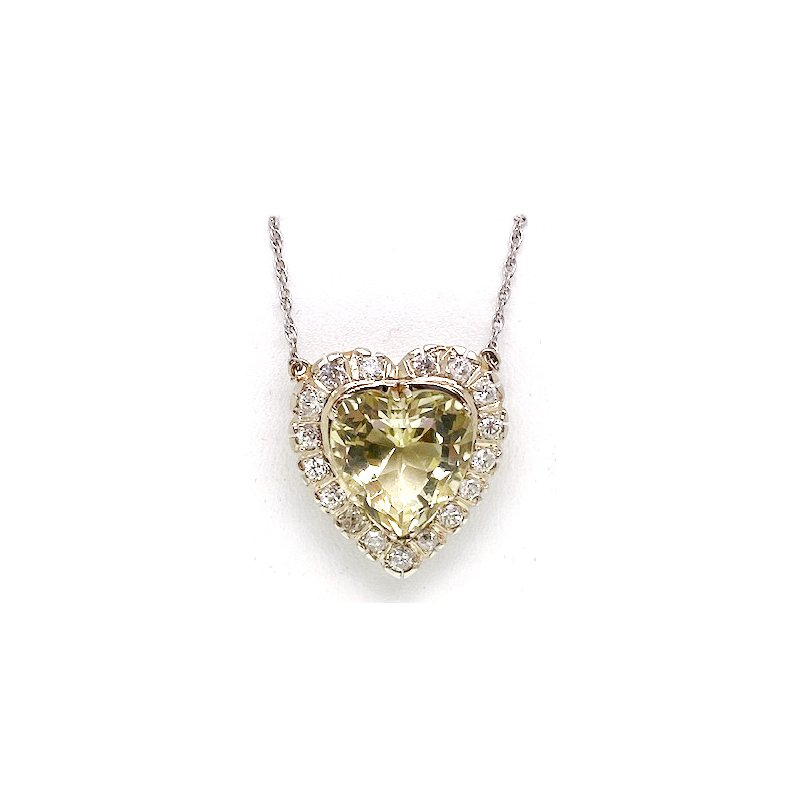 Estate & Vintage Vintage heliodor and diamond, two-tone gold heart necklace