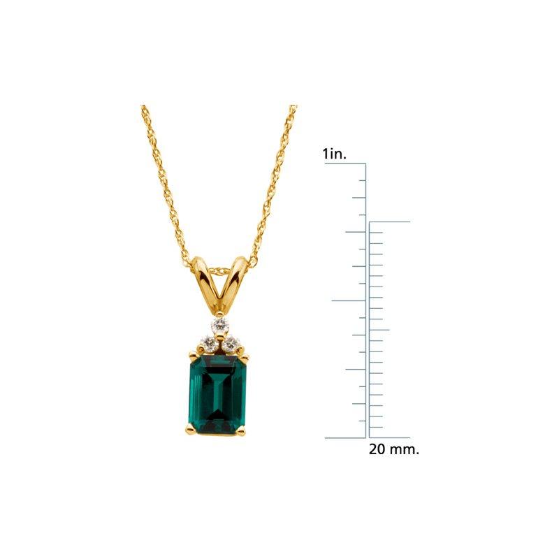 Ladies' Jewelry Chatham Created Emerald & Diamond Necklace