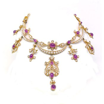 Lady's Victorian design, pink sapphire and seed pearl festoon necklace